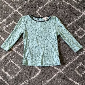 ⚡3/$20⚡Forever 21 Mint colored Lace shirt sz:S